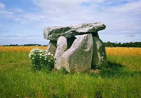 Dolmen near Locmariaquer, Brittany, France, Europe