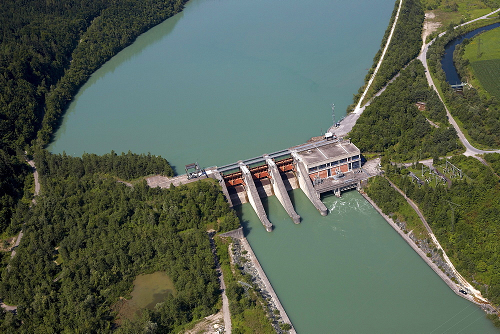 Hydroelectric power station on the Drau River in Galicia, aerial photo, Rosental, Carinthia, Austria, Europe