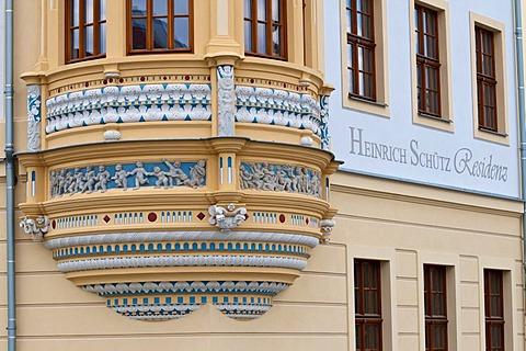 Schuetzhaus building, Renaissance oriel, Neumarkt square, historic town centre, Dresden, Saxony, Germany, Europe