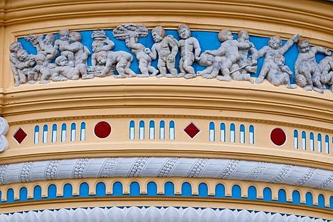 Schuetzhaus building, Renaissance oriel, detail, Neumarkt square, historic town centre, Dresden, Saxony, Germany, Europe