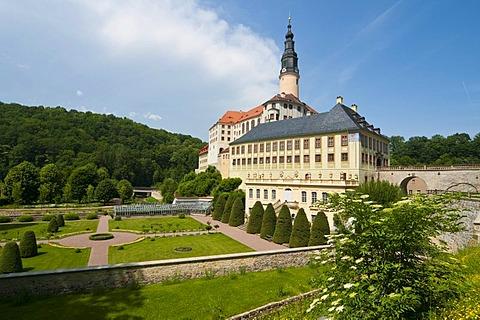 Schloss Weesenstein castle with Baroque garden in Dresden, Saxony, Germany, Europe