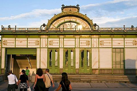Art Nouveau city railway station Karlsplatz, 1899, by Otto Wagner, Vienna, Austria, Europe