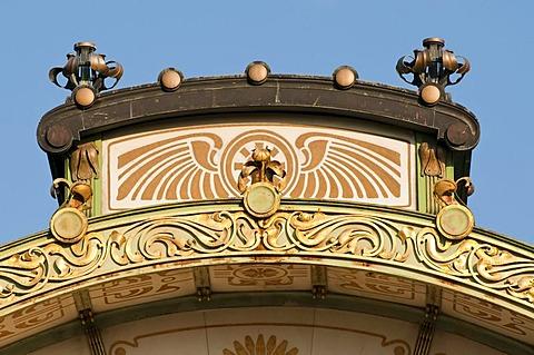 Art Nouveau detail of the city railway station Karlsplatz, 1899, by Otto Wagner, Vienna, Austria, Europe
