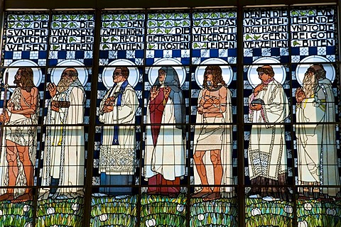 Stained glass windows, Art Nouveau church Am Steinhof by Otto Wagner, Baumgartner Hoehe, Vienna, Austria, Europe