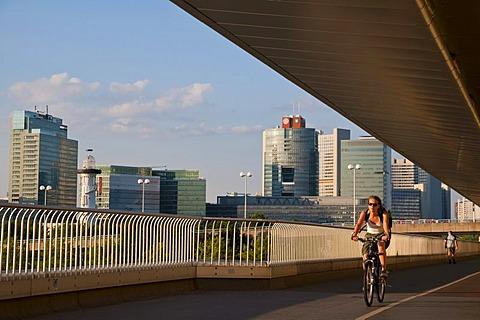 UNO City at the Danube from Reichsbruecke bridge, Vienna, Austria, Europe