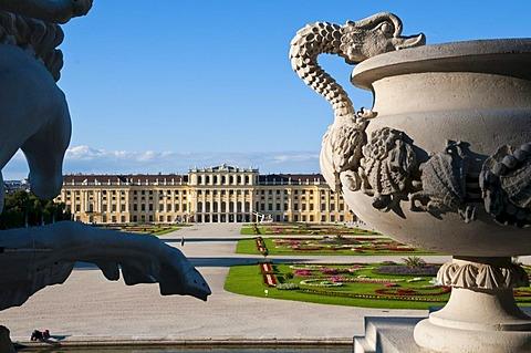 View from Neptunbrunnen fountain, palace gardens, Schloss Schoenbrunn Palace, Vienna, Austria, Europe