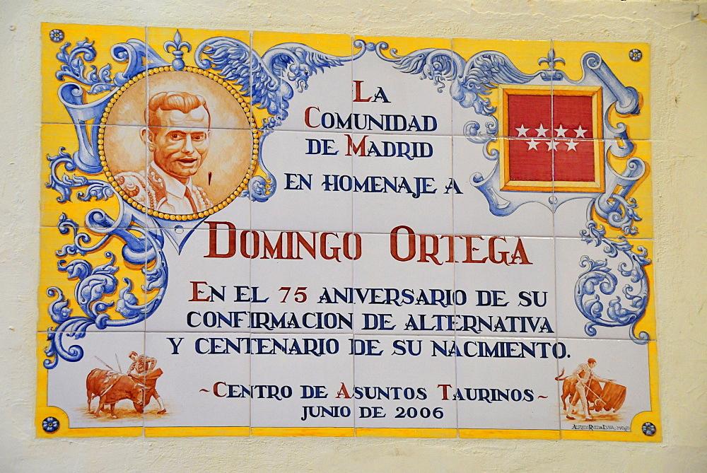 Wall mosaic in honour of the bullfighter Domingo Ortega in Las Ventas Bullring, Madrid, Spain, Iberian Peninsula, Europe
