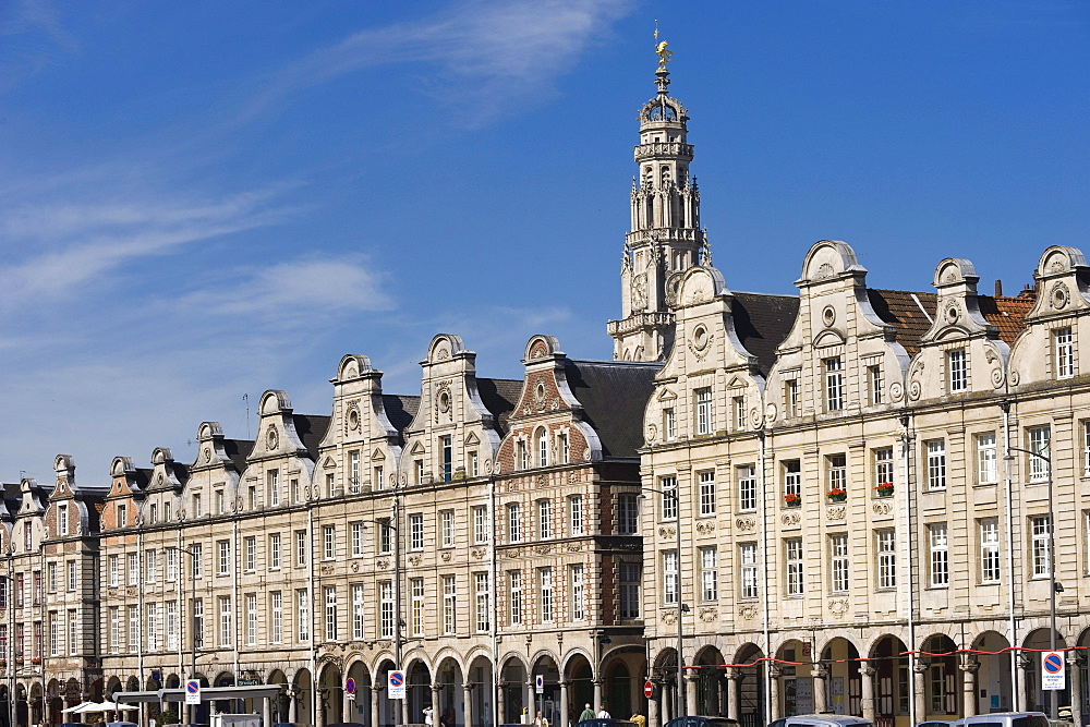 Public houses and Town Hall Tower, Grand Place, Arras, Nord Pas-de-Calais, Normandy, France, Europe, PublicGround