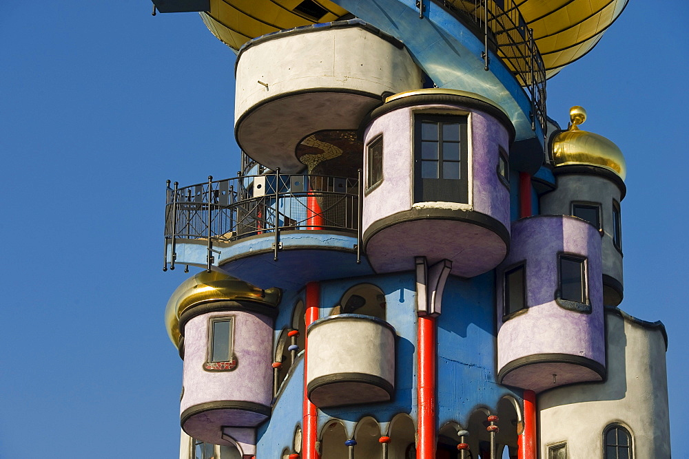 Hundertwasser tower of the Kuchelbauer Brewery, Abensberg, Lower Bavaria, Bavaria, Germany, Europe, PublicGround