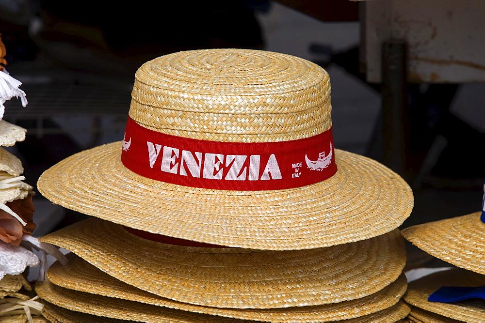 Venezia hat, gondolier's hat, Venice, Veneto, Italy, Europe