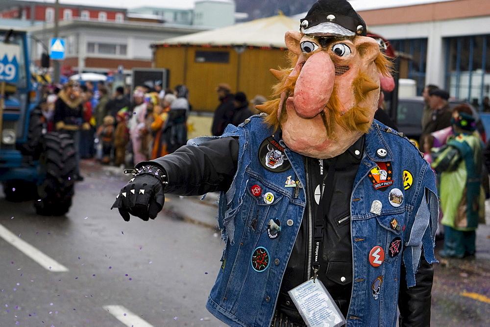 Werner Beinhart mask in the Carnival procession in Littau, Lucerne, Switzerland, Europe