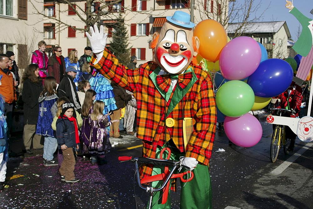 Clown in the Carnival procession in Littau, Lucerne, Switzerland, Europe