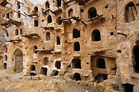 Open storage space in the inner wall of the Berber granary Qasr al-Haj, Nafusa Mountains, Libya, Africa