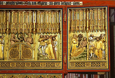Biblical depictions on the Christ side of the double-sided altar, Doberaner Muenster cathedral of Bad Doberan, Mecklenburg-Western Pomerania, Germany, Europe