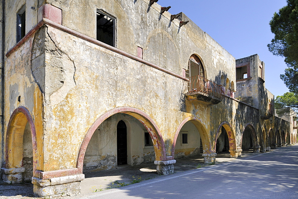 Dilapidated Italian palace of the governor, Eleoussa, Rhodes, Greece, Europe