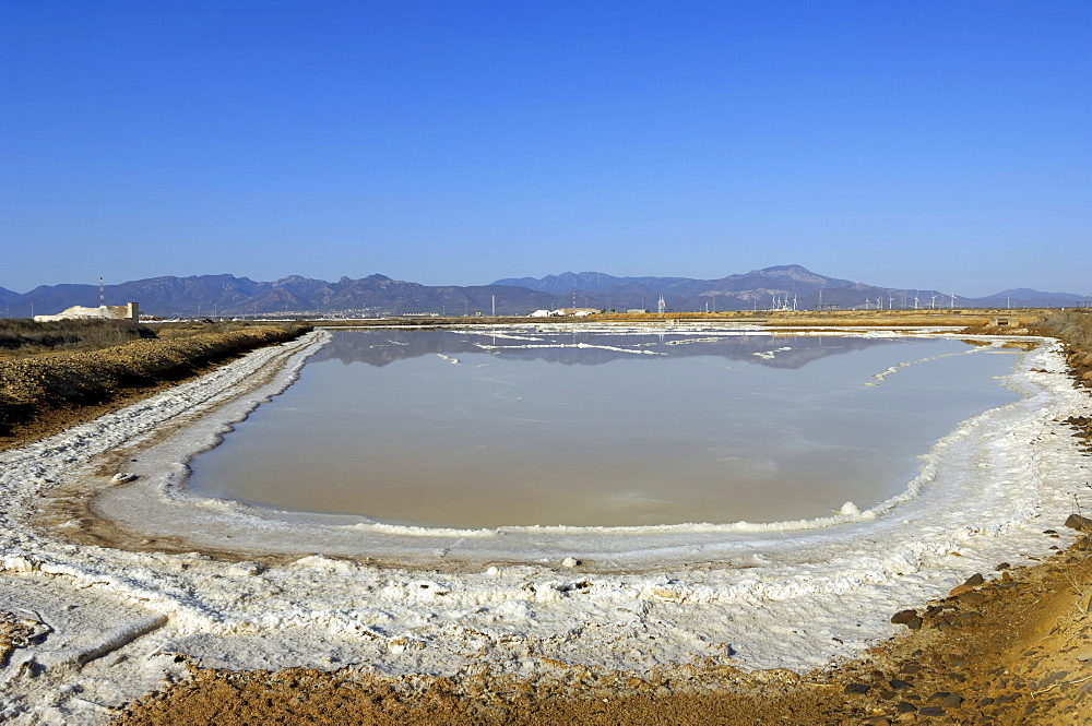 Salty shores of a salt lake, salt production, Cagliari, Sardinia, Italy, Europe