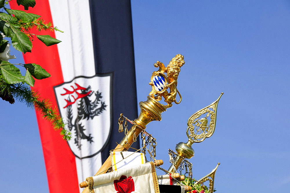 Banners and flags, detail, Bavaria, Upper Bavaria, Germany, Europe