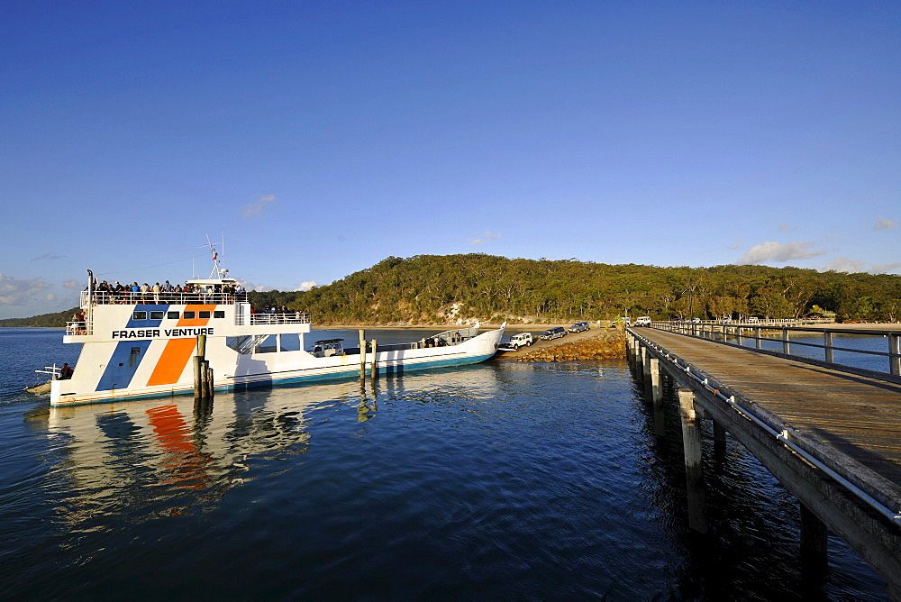 Car ferry at the jetty, Kingfisher Bay, UNESCO World Natural Heritage Site, Fraser Island, Great Sandy National Park, Queensland, Australia