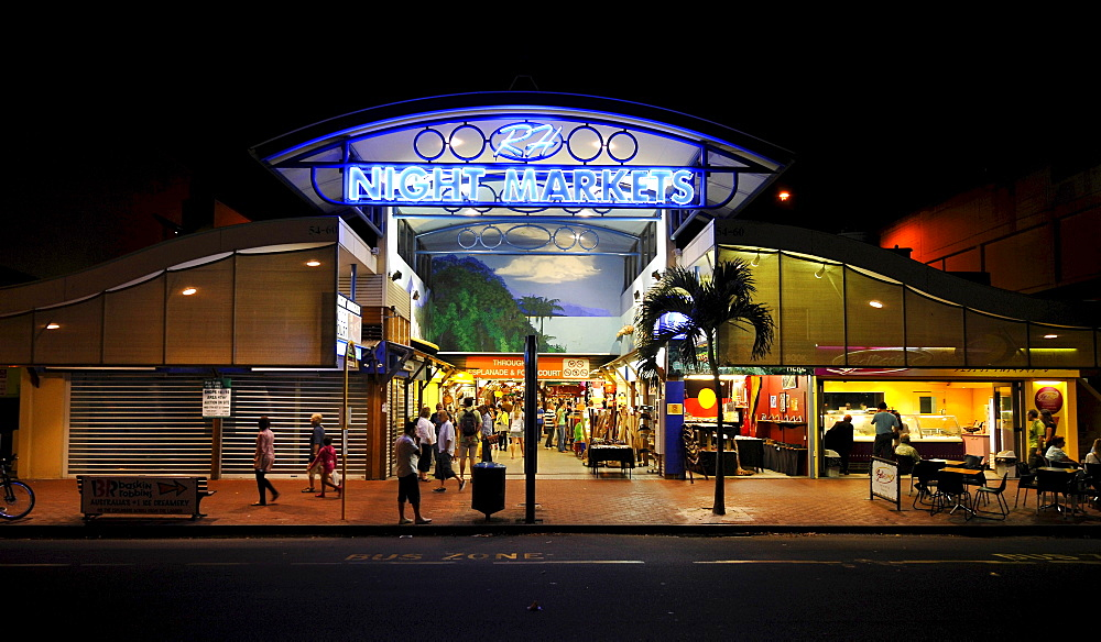 Night scene Night Markets, shopping mall, Cairns, Queensland, Australia