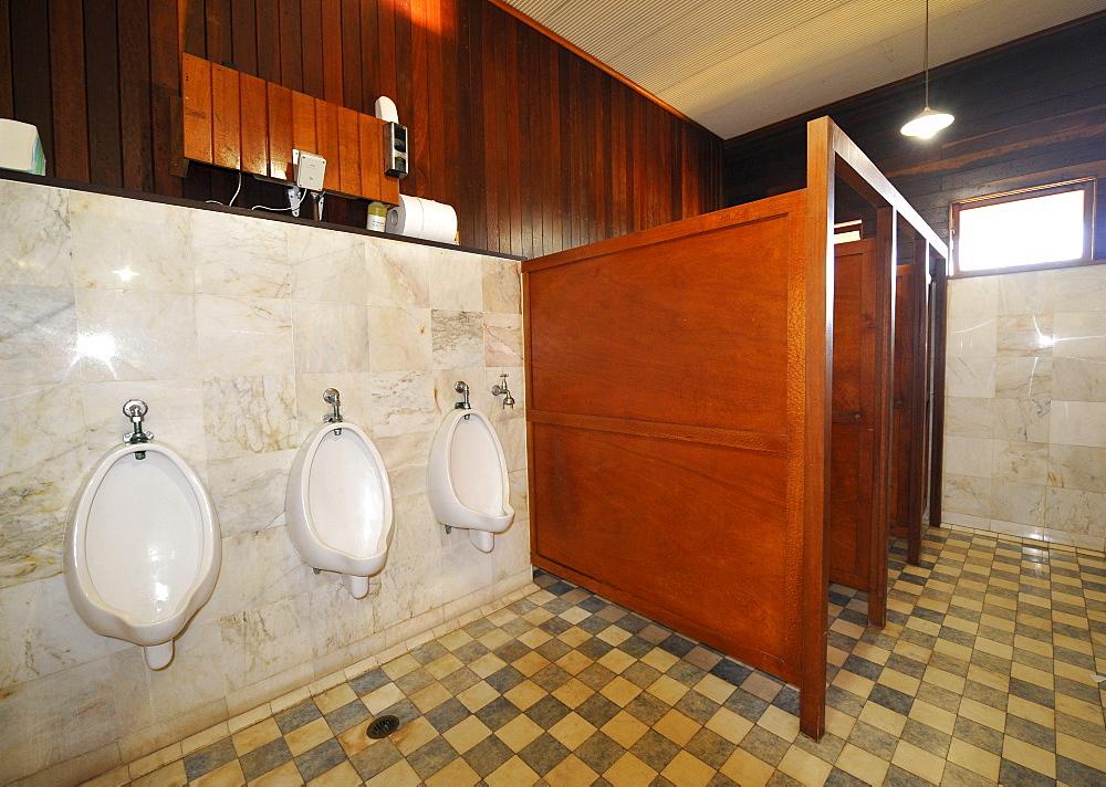 Interior shot, toilet, Kuranda Scenic Railway, historic station, Freshwater Station, Cairns, Queensland, Australia