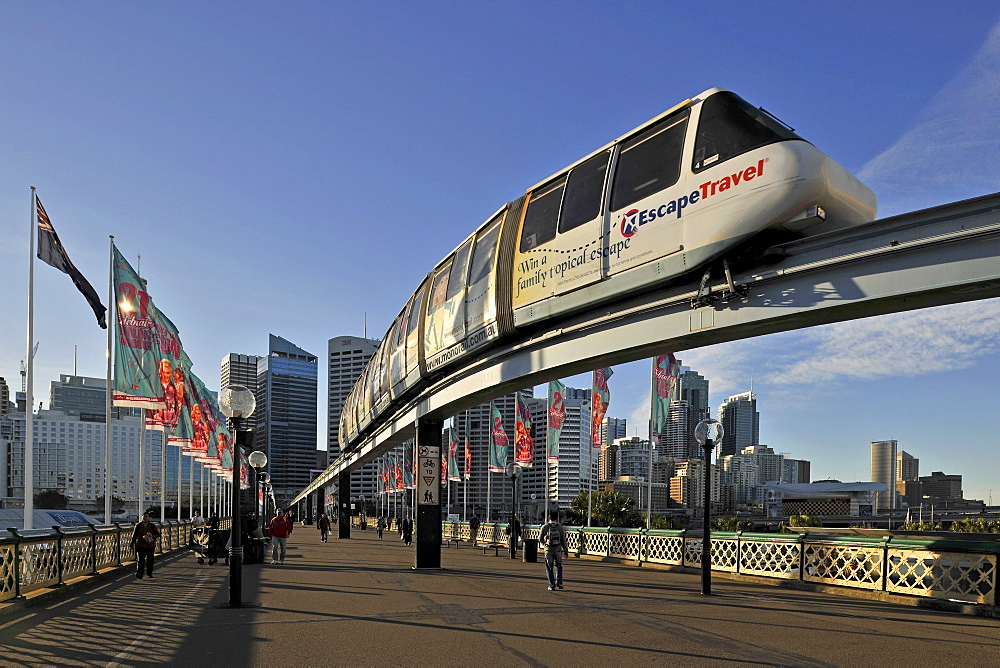 Monorail on Pyrmont Bridge, Darling Harbour, Sydney, New South Wales, Australia - 832-200389