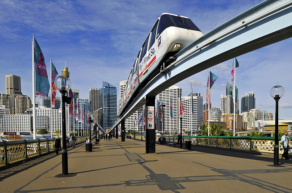 Monorail on Pyrmont Bridge, Darling Harbour, Sydney, New South Wales, Australia