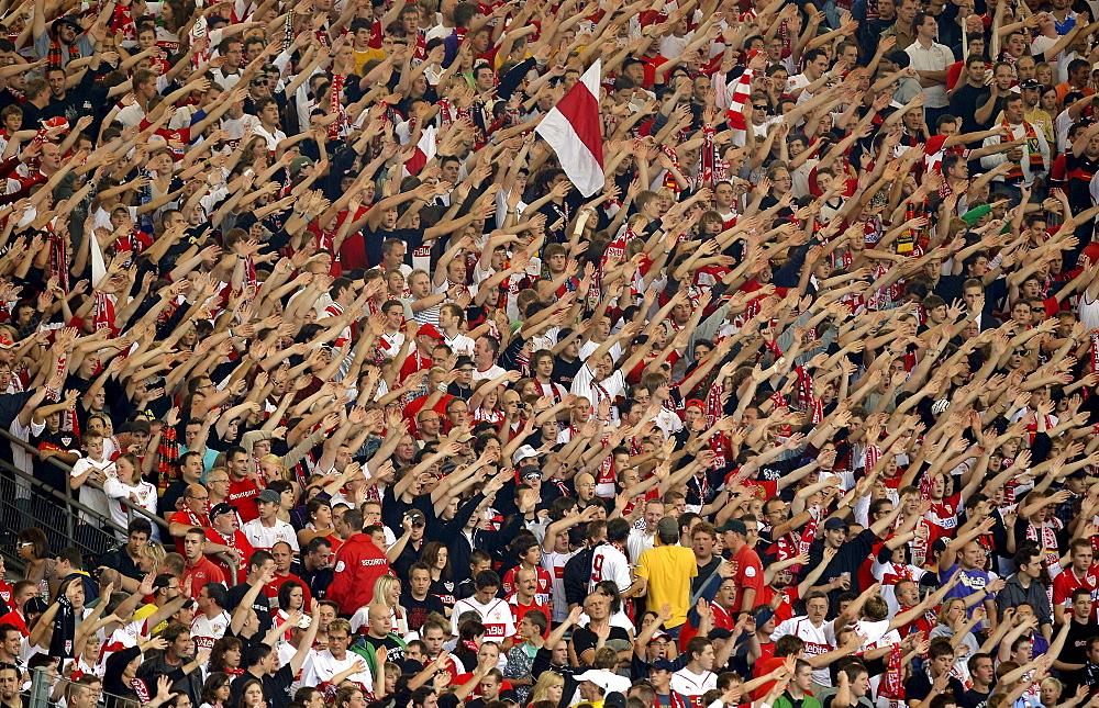 Fanblock, VfB Stuttgart, Mercedes-Benz Arena, Stuttgart, Baden-Wuerttemberg, Germany