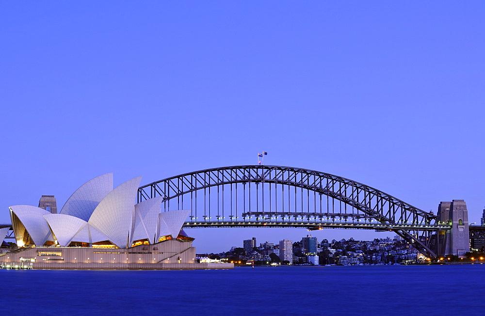 Sydney Opera House, Sydney Harbor Bridge, Kirribilli, before sunrise, Sydney, New South Wales, Australia