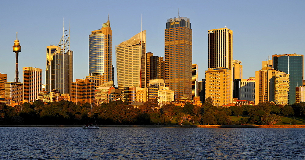 Skyline of Sydney at sunrise, TV Tower, Central Business District, Sydney, New South Wales, Australia - 832-200444