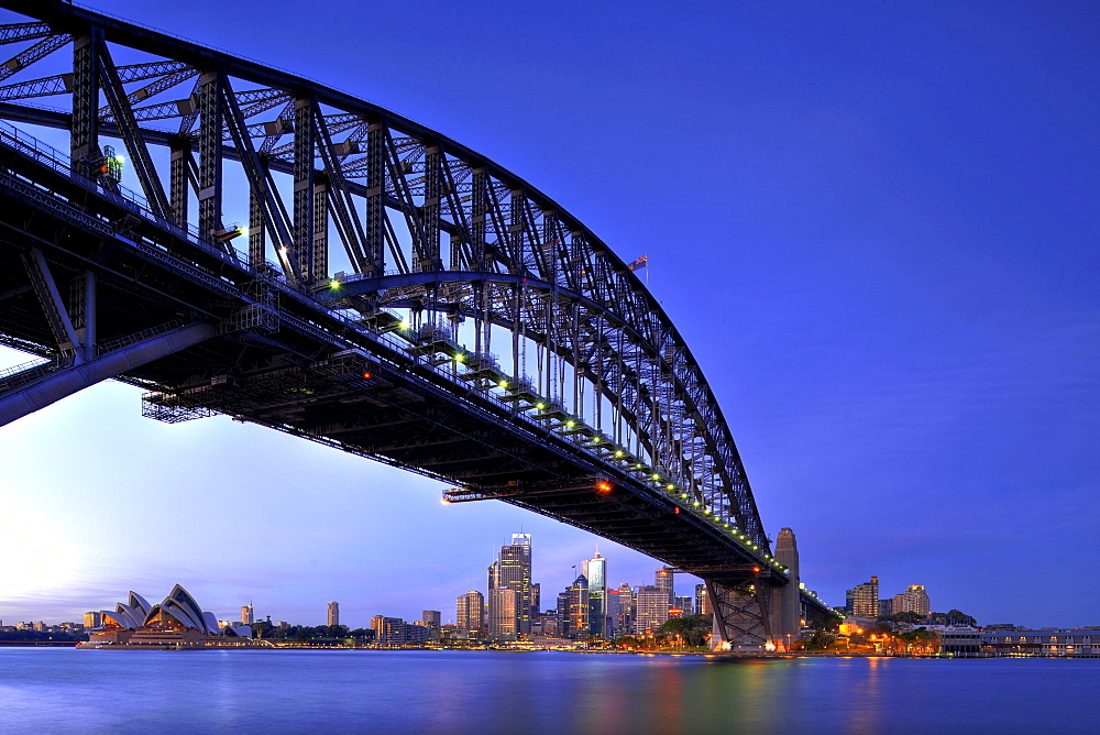 Sydney Opera House, Sydney Harbor Bridge, harbor, Sydney skyline, Central Business District, Speicherstadt historic warehouse district, Hamburg, Germany, Europe, Sydney, New South Wales, Australia