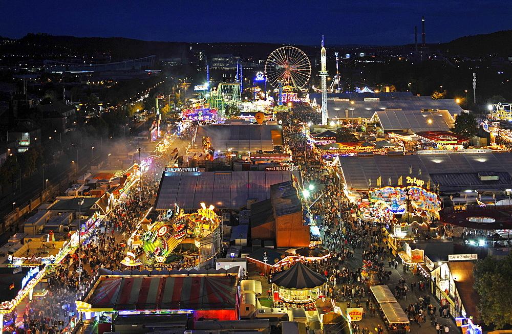 Night view, overlooking Cannstatt Festival, Stuttgart Beer Festival, Stuttgart, Baden-Wuerttemberg, Germany, Europe