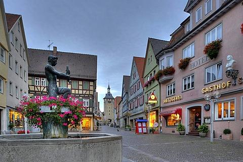 Marktstrasse street with the Oberer Torturm tower at night, Schiller town Marbach am Neckar, Baden-Wuerttemberg, Germany, Europe