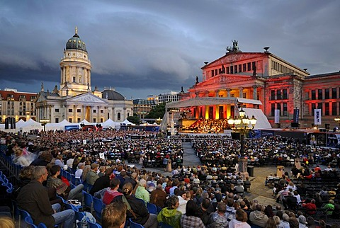 Classic Open Air, Gendarmenmarkt square with French Cathedral and Schauspielhaus theatre, Berlin Mitte district, Berlin, Germany, Europe