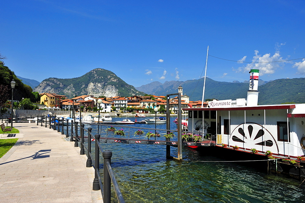Townscape with a paddle steamer ship restaurant, Feriolo, Lake Maggiore, Piedmont, Italy, Europe