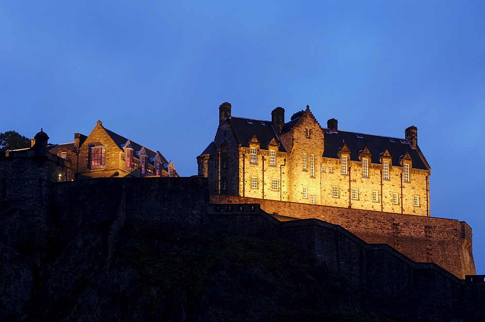 Edinburgh Castle at dusk from Princes Street, Edinburgh, Scotland, United Kingdom, Europe