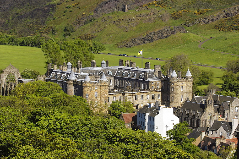 Holyrood Palace at Royal Mile from Calton Hill, Edinburgh, Lothian Region, Scotland, United Kingdom, Europe