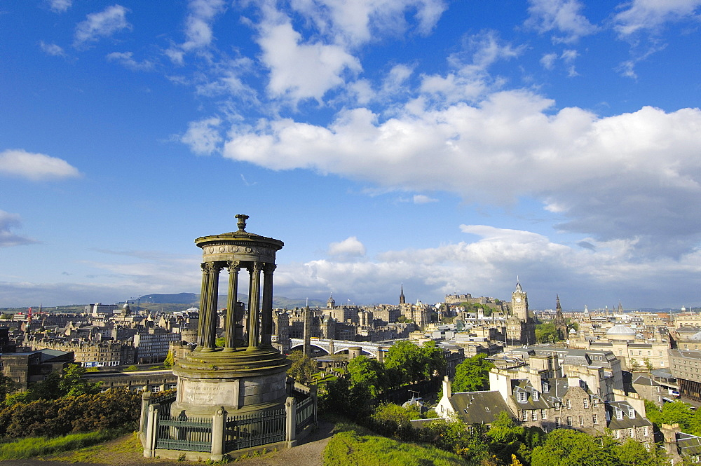 Dugald Stewart Monument and Princes Street at back, Calton Hill, Edinburgh, Lothian Region, Scotland, United Kingdom, Europe