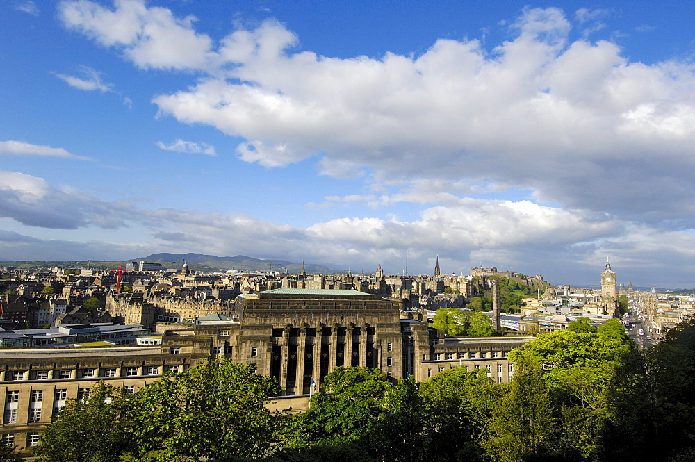 Edinburgh old town from Calton Hill, Edinburgh, Lothian Region, Scotland, United Kingdom, Europe