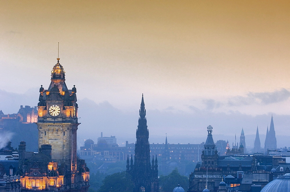 Balmoral Hotel tower and Princes Street from Calton Hill, Edinburgh, Lothian Region, Scotland, United Kingdom, Europe