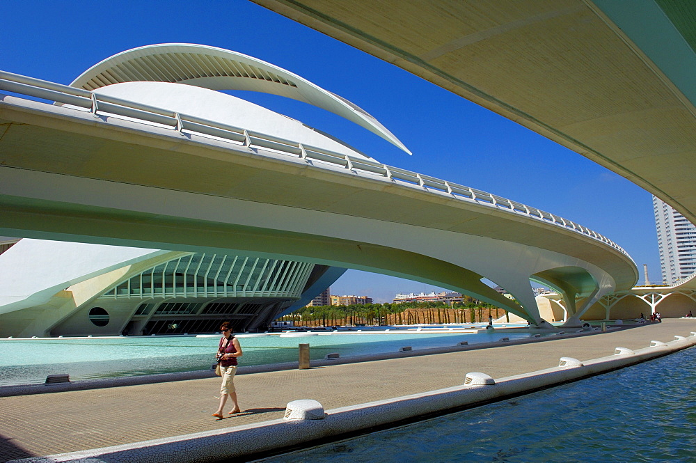 Monteolivete bridge at City of Arts and Sciences, by S. Calatrava, Valencia, Comunidad Valenciana, Spain, Europe
