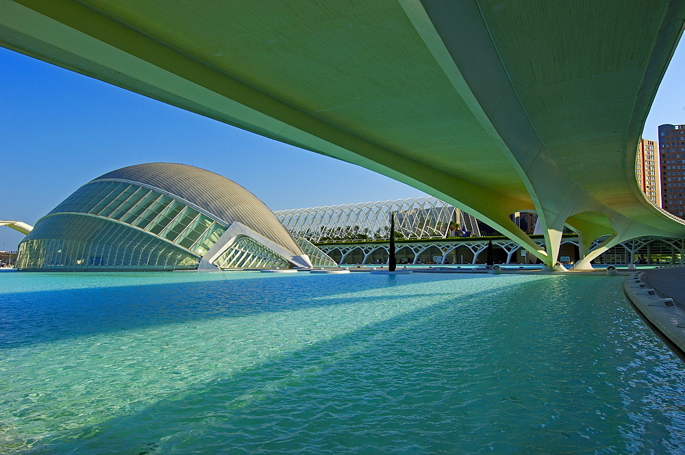 Monteolivete bridge and L'Hemisferic, by S. Calatrava, City of Arts and Sciences, Comunidad Valenciana, Valencia, Spain, Europe