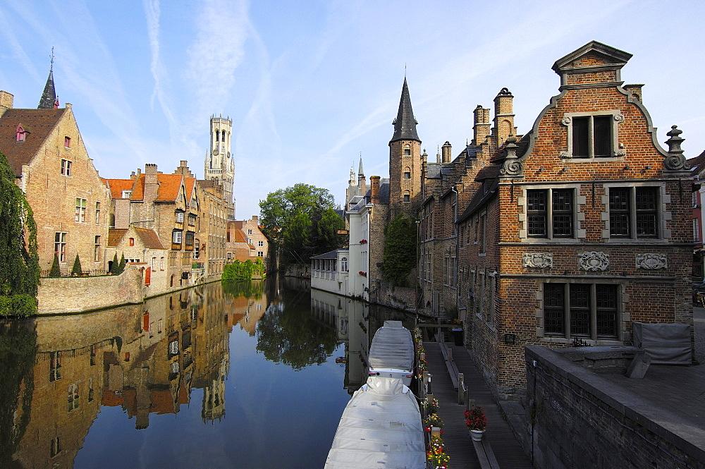 Belfry tower and Dijver canal, Brugge, West Flanders, Belgium, Europe