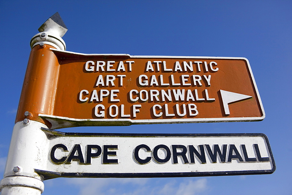 Sign, Cape Cornwall, Great Atlantic Art Gallery, Golf Club, St Just in Penwith, Cornwall, England, United Kingdom, Europe