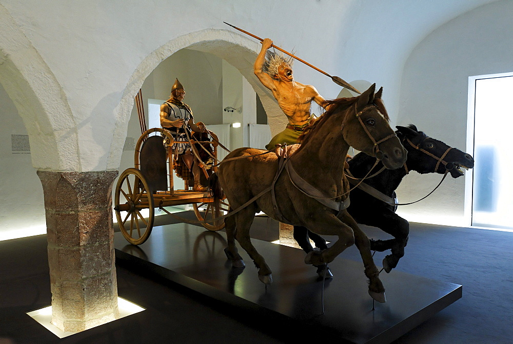 Celtic chariot team, reproduction, Keltenmuseum Celtic museum, Hallein, Salzburger Land region, Salzburg, Austria, Europe
