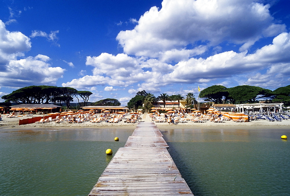 Famous beach club, Tahiti Plage, Saint-Tropez, Cote d'Azur, Var, Southern France, France, Europe