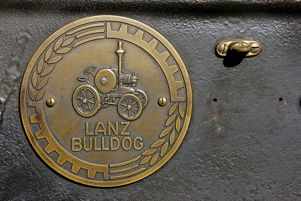 Bronze plaque of a Lanz Bulldog tractor