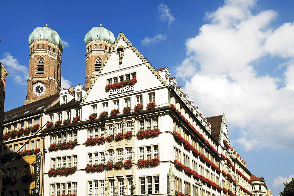 Department store Hirmer, Frauenkirche Church of Our Lady, Munich, Bavaria, Germany, Europe