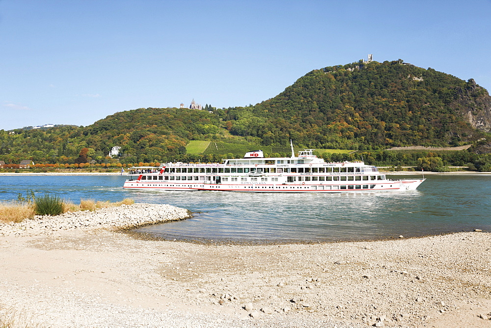 Excursion ship of the KD on the Rhine river at low water, river bed, Mt. Drachenfels, between Mehlem and Rolandswerth, North Rhine-Westphalia, Germany, Europe