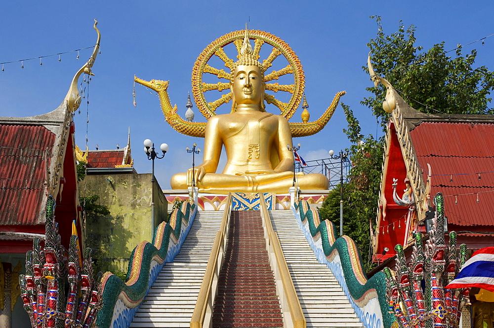 Big Buddha statue at the temple in Ban Bo Phut, Ko Samui island, Thailand, Asia - 832-203996