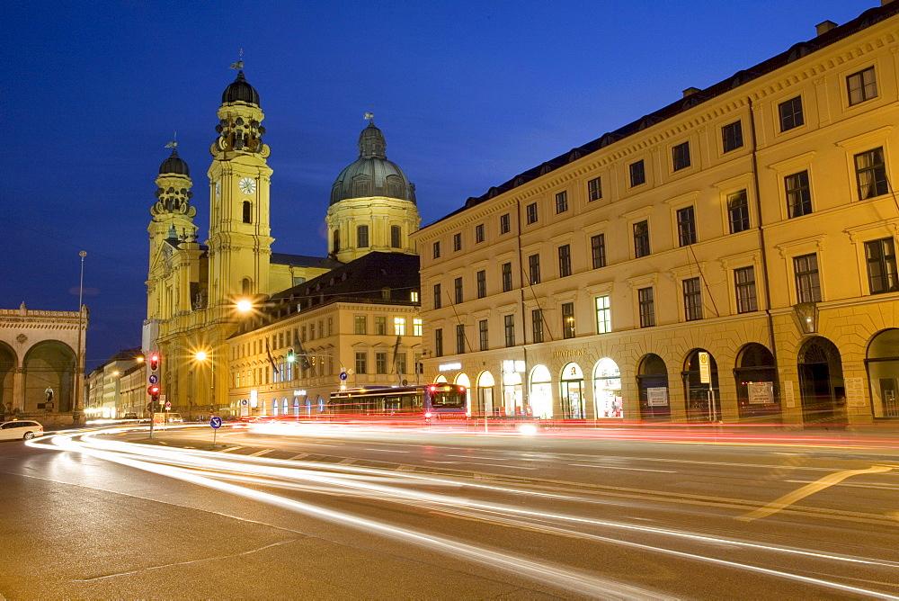 Theatine Church at night, Ludwigstrasse, Munich, Bavaria, Germany, Europe